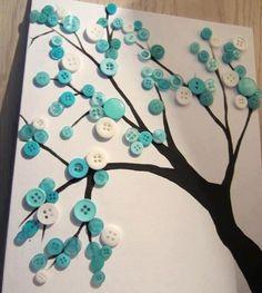 Como fazer artesanato com botões. Aproveite os botões que tem em casa e faça lindas peças artesanais :) #diy #buttontree                                                                                                                                                                                 Mais
