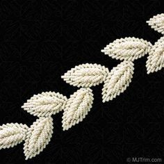 This gorgeous Bugle and Seed Beaded Leaf Trim has a detailed design that will give your old wardrobe a refreshing new look. Zardozi Embroidery, Pearl Embroidery, Bead Embroidery Patterns, Tambour Embroidery, Couture Embroidery, Hand Embroidery Designs, Embroidery Applique, Beading Patterns, Embroidery Stitches