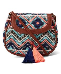 Blue & Peach Geometric Tassel Crossbody Bag