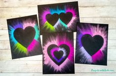 Colorful chalk pastel heart art for kids to make. Heart templates included making this Valentine's Day art project easy for kids of all ages! Preschool Valentine Crafts, Valentine Day Crafts, Chalk Pastel Art, Chalk Pastels, Chalk Art, Winter Crafts For Kids, Art For Kids, Kindergarten Art Projects, Kid Projects