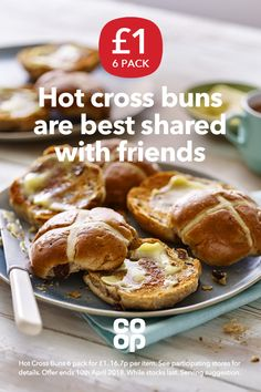 What do you like best on your hot cross buns? Butter, jam or cheese? Pick up a 6 pack for £1 at your local Co-op.