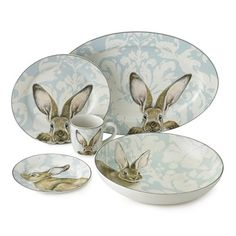 Brighten your springtime celebrations with these vintage-style plates, each decorated with a playful portrait of a woodland bunny. For a traditional touch of elegance, we've set the bunnies against a pale blue floral backdrop that re-crea White Dinnerware, Porcelain Dinnerware, Dinnerware Sets, Easter Table Decorations, Easter Decor, Easter Ideas, Easter Buffet, Spring Decorations, Floral Backdrop