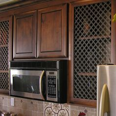 Perforated Metal Panel, Metal Lattice, Metal Panels, Cabinet Door Styles, Glass Cabinet Doors, Kitchen Cabinets Pictures, Kitchen Ideas, Brown Cabinets, Shaker Cabinets