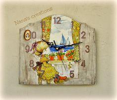 Wooden clock with Sarah Kay Sarah Kay, Wooden Clock, Vintage World Maps, Clocks, Frame, Handmade, Painting, Decor, Art