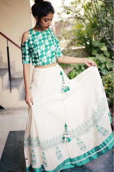 Buy MATARGASHTI_Handloom block printed lehenga with raw silk cold shoulder blouse