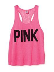 #Lace #Back #Yoga #Tank #Top #Shirt #Dreaming of a #VSPINK #Summer #LOVE #PINK $24.50