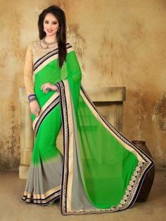 Green and Grey Georgette Saree with Lace Work