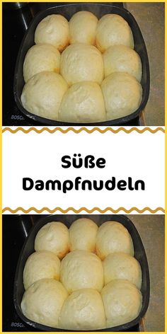 Süße Dampfnudeln Ingredients 500 g flour 20 g yeast (or 1 pa dry yeast) 50 g sugar liter milk tsp salt 80 g butter melted 1 m egg (s) 100 g butter for the pan 125 ml milk for the pan of sugar for the pan preparation Dissolve the yeast with the sugar. Easy Vanilla Cake Recipe, Easy Cake Recipes, Dessert Recipes, Dry Yeast, Food Cakes, Cocktail Recipes, Good Food, Food Porn, Food And Drink