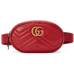 Gucci Gg Marmont Matelassé Leather Belt Bag ($1,050) ❤ liked on Polyvore featuring bags, red, real leather belts, red leather belt, leather waist bag, bum bags and gucci bags