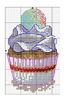 Cupcakes, cakes,and lollipops. Cross Stitch Kitchen, Cross Stitch Kits, Cross Stitch Designs, Cross Stitch Patterns, Cross Stitching, Cross Stitch Embroidery, Embroidery Patterns, Crochet Patterns, Cupcake Cross Stitch
