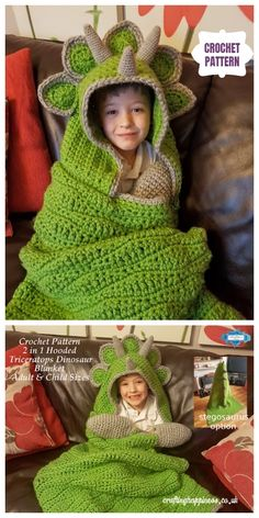 Cool Hooded Dinosaur Blanket Crochet Pattern - Before After DIY Crochet Crafts, Crochet Toys, Crochet Baby, Crochet Projects, Knit Crochet, Knitted Dolls, Crocheted Baby Hats, Crochet Ideas, Crochet Dinosaur Patterns