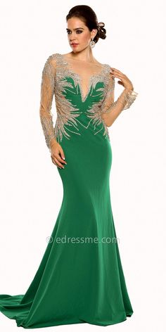 Embellished Illusion Long Sleeve Prom Dress By Atria