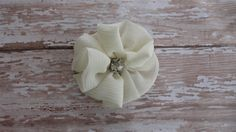 Pearl White fabric with crystal Flower Hair by HairPlayBowtique