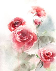 Watercolor Painting Art Print of Red Roses, Floral Watercolour Wall Art