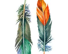 "Feather Watercolor Art Painting - Archival Print - 8x10 ""Orange & Aqua Feathers"""