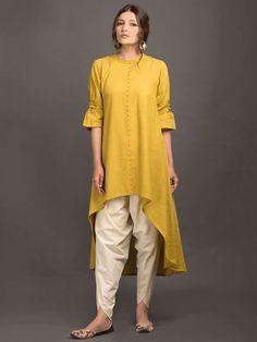 Mustard Yellow Khadi High Low Kurta