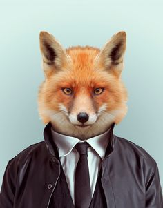 Dressed to kill in his jacket and tie, this Blik Zoo Portraits: Fox has all kinds of personality. This fox design is an original zoo portrait from. Zoo Animals, Funny Animals, Cute Animals, Wild Animals, Moda Animal, Art Fox, Zoo Book, Animal Heads, Animal Fashion