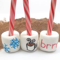 how to draw on food: hot cocoa stirrers | The Decorated Cookie