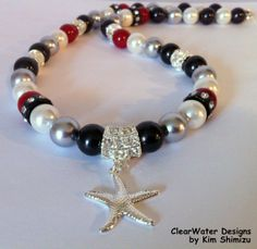 Starfish Jewelry Holliday Party Necklace Pearl Rhinestone Necklace Silver Black Red Starfish Dangle Bead Christmas Bling
