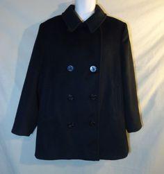 VINTAGE Women's Forecaster Black Peacoat  Pea Coat Sz. 14-USA MADE-Wool Blend #Forecaster #Peacoat