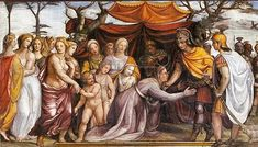 [Women who influenecd...] The Women of Darius's Family before Alexander the Great. (c. 1517) by Il Sodoma.