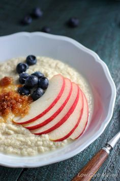 Coconut Flour Porridge is a simple warming breakfast that's read in minutes. | low carb, gluten-free, paleo, keto, thm