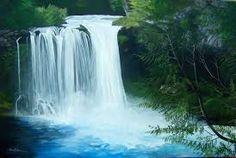 I want to swim under a waterfall( but first I have to learn to swim 😆) Waterfall Drawing, Waterfall Paintings, Niagara Waterfall, Fall Drawings, Waterfall Wallpaper, Learn To Swim, Living Water, Painting Wallpaper, Beautiful Waterfalls