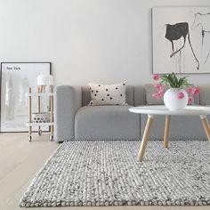 The gorgeous living room of @casa_lene Normann Copenhagen Tablo coffee table and Block side table are all available online . #livingroom #livingroomdecor #nordichome #nordicinspiration