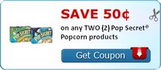 Save 50¢ on any TWO (2) Pop Secret® Popcorn products Coupon