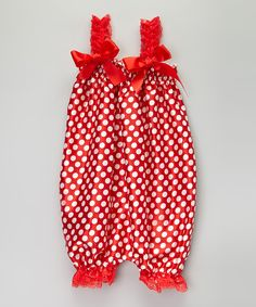 Look at this #zulilyfind! Red & White Polka Dot Bubble Romper - Infant by Whitney Elizabeth #zulilyfinds