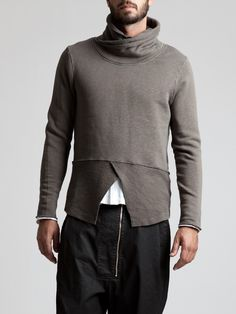 Thick Rustic Cotton High Neck T-Shirt by SYNGMAN CUCALA