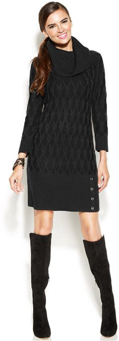 Alfani Cable-Knit Cowl-Neck Sweater Dress