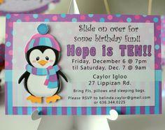 Penguin Party Invitation - Birthday Invite