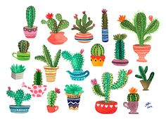 Ilustración de Cactus en técnica de Acuarela.