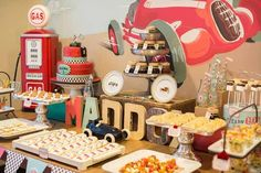 dessert table for vintage race car birthday party www.spaceshipsandlaserbeams.com