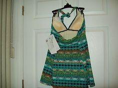 7b5b7243710 A Shore Fit Thighs Solutions Women Blue Green Swim Dress Size 12