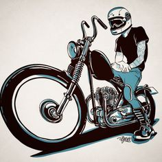 Chop it like you STOLE it! — megadeluxe: Just testing… Biker Tattoos, Motorcycle Tattoos, Bobber Motorcycle, Motorcycles, Bike Drawing, Bike Illustration, Garage Art, Lowbrow Art, Car Drawings