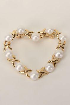 Splendid Pearls Heart Pearl Brooch In 10k Yellow Gold -