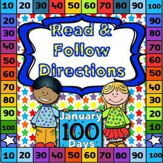 100th Day~Read and Follow Directions~NO PREP, Just PRINT! 100th Day Read and Follow Directions! This following directions activity is perfect to use during Small Group instruction with your PK-K students or to use as an independent activity for 1st-2nd graders.
