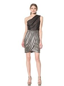 Vera Wang Women's One-Shoulder Draped Dress (Pewter)