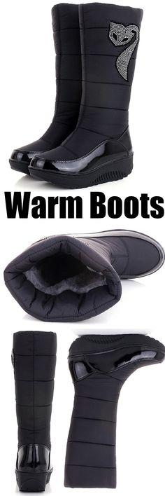 the best attitude f1cc6 36da7 US 35.16 Rhinestone Rocker Sole Mid Calf Waterproof Platform Warm Boots   warm giftidea
