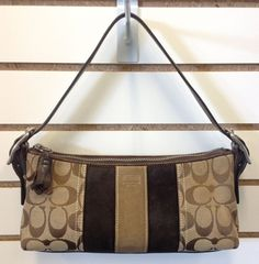 Authentic Coach Signature Striped Demi Khaki Brown Shoulder Bag (NO. E05Q-8K09) SOLD!! Was available at Gadgets and Gold in Gainesville, FL!