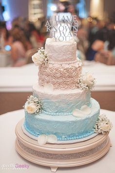 Neutral colored wedding cake. Beautiful! Beige, brown and light blue.Fresno Wedgewood Wedding Photo