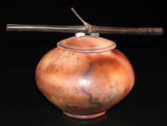 """""""Wild Nature Jar w/black bamboo peak"""" Brenda McMahon Ceramics"""