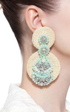 Emerald Earrings / Oval Cut Emerald Earrings with Diamonds / Natural Emerald Earrings in Solid Gold / Lady Diana Earrings - Fine Jewelry Ideas Beaded Tassel Earrings, Emerald Earrings, Bridal Earrings, Beaded Earrings, Earrings Handmade, Bridal Jewelry, Crochet Earrings, Diy Statement Earrings, Beaded Jewellery