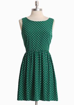 Green and polk-a-dots does it for me.  But check out the back of this lovely dress--it has a sweet dip down the back side!  Too cute.