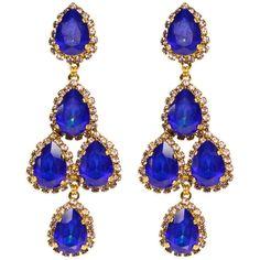 Rental Erickson Beamon Royal Blue Duchess Earring ($60) ❤ liked on Polyvore featuring jewelry, earrings, blue, 24k earrings, blue jewelry, royal blue jewelry, long post earrings and 24 karat gold earrings