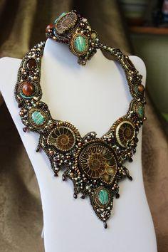 Bead Embroidery Jewelry, Beaded Embroidery, Beaded Jewelry, Jewellery, Fossil Jewelry, Native Beadwork, Ammonite, Bead Art, Bead Weaving