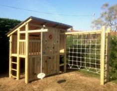 Shed Plans - Like the closed off house idea would put swings instead of climbing rope - Now You Can Build ANY Shed In A Weekend Even If You've Zero Woodworking Experience! Backyard Fort, Backyard Playground, Backyard For Kids, Backyard Projects, Outdoor Projects, Playground Ideas, Toddler Playground, Garden Playhouse, Build A Playhouse