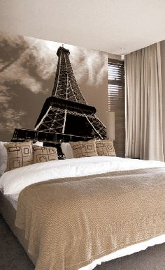 who needs a headboard if you have the eiffel tower behind your bed. beautiful ideas. Home Design Ideas